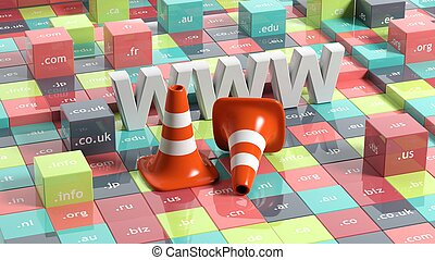 WWW letters, traffic cones and cubes with domain extensions