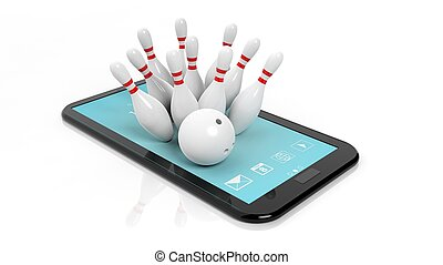 Bowling ball and pins set on tablet screen isolated on white...