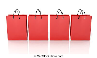 Red blank shopping bags isolated on white background