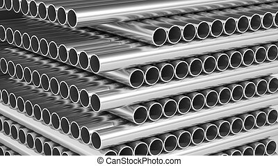 Metal pipe stacks closeup background