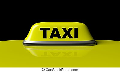 Yellow taxi car roof with sign isolated on black background
