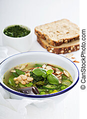 Minestrone soup with spring green vegetables