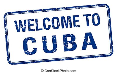 welcome to Cuba blue grunge square stamp