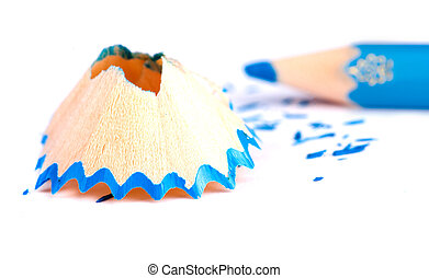 wood shavings from the pencil in the background