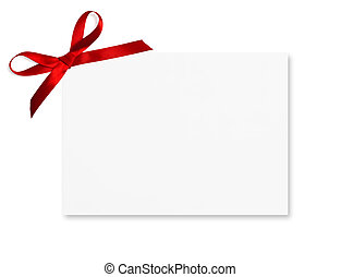 Gift Card - Gift card tied with a bow of red satin ribbon....