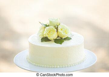 blanco, boda, Cake, ,