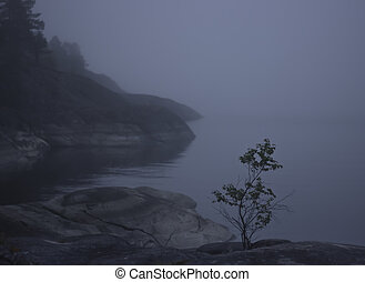 Lake Ladoga, Karelia, Russia - foggy morning in the...