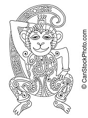 line art drawing of ethnic monkey in decorative ukrainian...