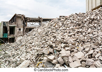 Demolished house - Pile of rubble of a demolished building