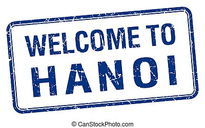 welcome to Hanoi blue grunge square stamp