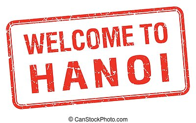 welcome to Hanoi red grunge square stamp