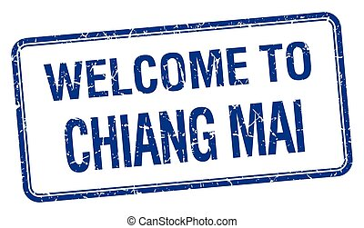 welcome to Chiang mai blue grunge square stamp