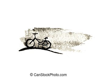 Bicycle, ink drawing, vector illustration
