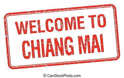 welcome to Chiang mai red grunge square stamp
