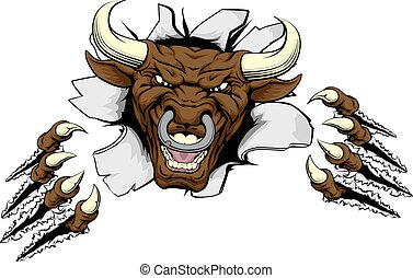 Bull claws break out - A mean looking bull mascot character...