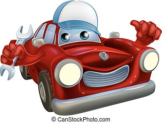 Cartoon car mechanic character - A drawing of a red cartoon...