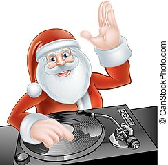 DJ Santa Claus - An illustration of cute cartoon Santa Claus...