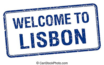welcome to Lisbon blue grunge square stamp