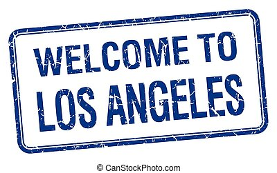 welcome to Los Angeles blue grunge square stamp
