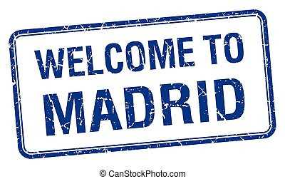 welcome to Madrid blue grunge square stamp
