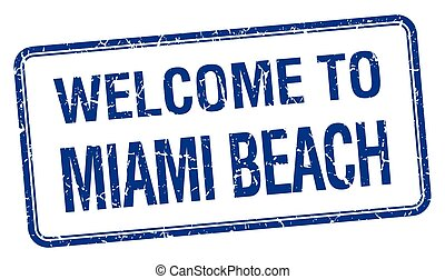 welcome to Miami Beach blue grunge square stamp