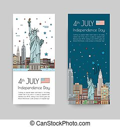 July 4th celebration - Vector illustrations of the town in...
