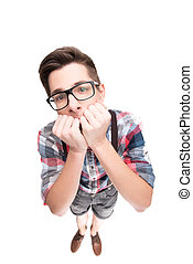 Nerd in glasses and checkered shirt - Stressed boy with...