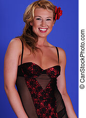 Blonde - Statuesque blonde woman in black and red lingerie