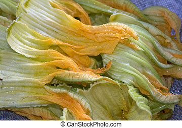 zucchini flowers - vegan diet with crudites and fresh...