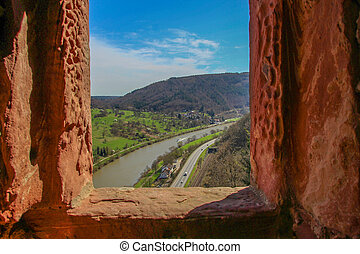 Castle View of the Neckar River - Neckar River seen from the...