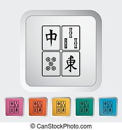 Mahjong Single flat icon on the button Vector illustration...