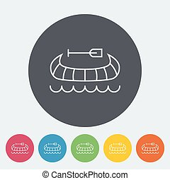 Canoe icon - Canoe Single flat icon on the circle Vector...