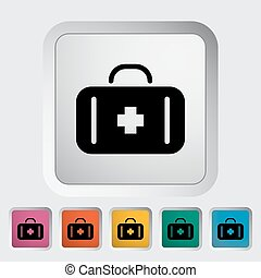 First aid Single flat icon on the button Vector illustration...