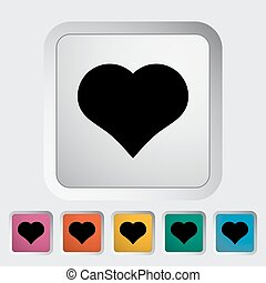 Card suit - Suit of heart. Single flat icon on the button....