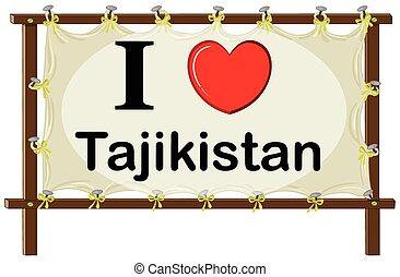 Tajikistan - I love Tajikistan sign in wooden frame