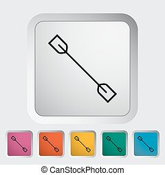 Paddle. Single flat icon on the button. Vector illustration.