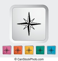 Wind rose Single flat icon on the button Vector illustration...