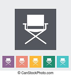 Camping chair Single flat icon on the button Vector...