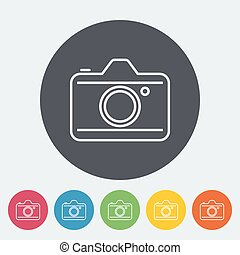 Camera. Single flat icon on the circle. Vector illustration.