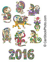 set of different colors decorative monkey - chinese symbol...