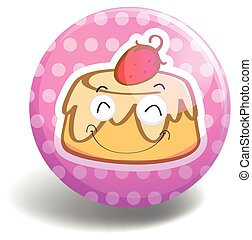 Pudding badge - Round badge with pudding on pink background