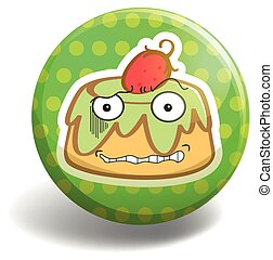 Pudding badge - Pudding with face on green round badge