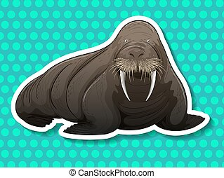 Walrus - Giant walrus on blue polka dot background