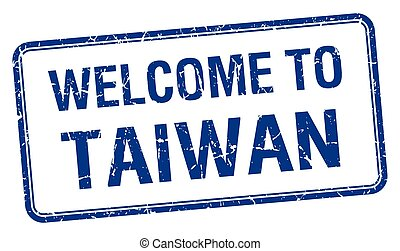 welcome to Taiwan blue grunge square stamp