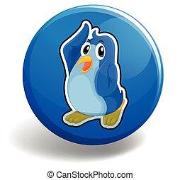 Penguin - Cute penguin on blue button