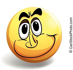 Happy face on round yellow ball
