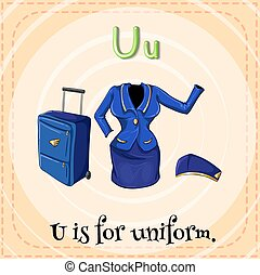 Uniform - Flashcard letter U is for uniform
