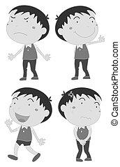 Feelings - Cute boy showing different feelings