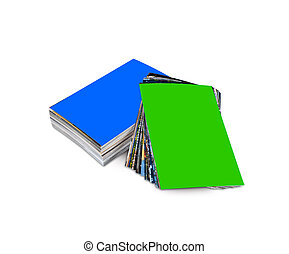 Stack of the customizable photos isolated on a white...