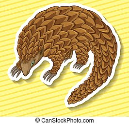 Pangolin - Close up pangolin on yellow background